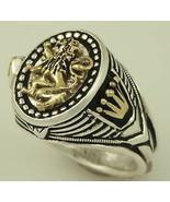 10 Karat Gold Heraldic lion silver Oval ring - $222.75