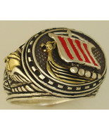 10Karat Gold Viking Longship Mens silver ring - $222.75