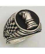 Knights Chess piece Mens Signet ring II Sterlin... - $98.01