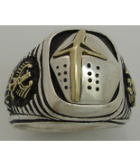 Teutonic Knights helmet  10 Karat Gold German eagles Sterling Silver ring - $212.85