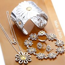 Chrysanthemum Necklace Bracelet Bangle Earrings Ring Fashion Jewelry Set  - $24.99