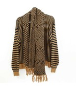 SHAPELY KNITS V-Neck Cardigan Sweater with Pockets and Matching Scarf - $20.71