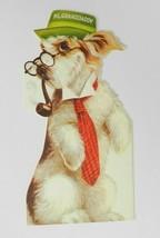 Vtg Hallmark Birthday Card Grandpa Grandaddy Terrier Dog in Tie Die Cut ... - $12.86