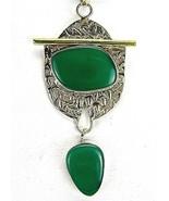 Green Chalcedony TearDrop Gold 14k Vermeil Sterling Silver Pendant Artis... - $93.12