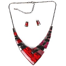 Fashion Jewelry Sets Gunmetal Plated Multicolor red - $21.99