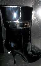 Gucci Patent Leather Vernice Diamond Silver Buckle Black Boots 7.5 B New - $386.10
