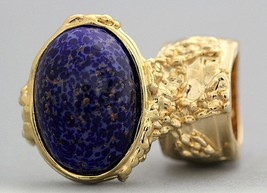Arty Oval Ring Lapis Dark Blue Purple Vintage G... - $27.99