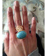 Arty Turquoise Vintage Glass Oval Statement Ring Gold Size 4.5 - $27.99
