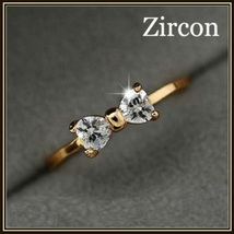 Austrian Diamond Crystal Bow Cubic Zircon Engagement 18K Gold Plated Ring image 1