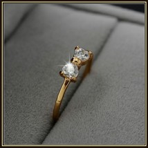 Austrian Diamond Crystal Bow Cubic Zircon Engagement 18K Gold Plated Ring image 2