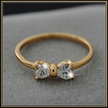Austrian Diamond Crystal Bow Cubic Zircon Engagement 18K Gold Plated Ring image 3