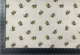 Bumblebees Yellow Black Beige Linen Look High Quality Fabric Material 3 ... - $7.29+