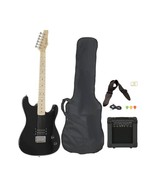 New Full Size Black Electric Guitar With Amp, Case & Accessories Package - $140.22