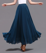 LONG CHIFFON SKIRT Teal Blue Chiffon Skirt High Waisted Wedding Chiffon Skirt image 5