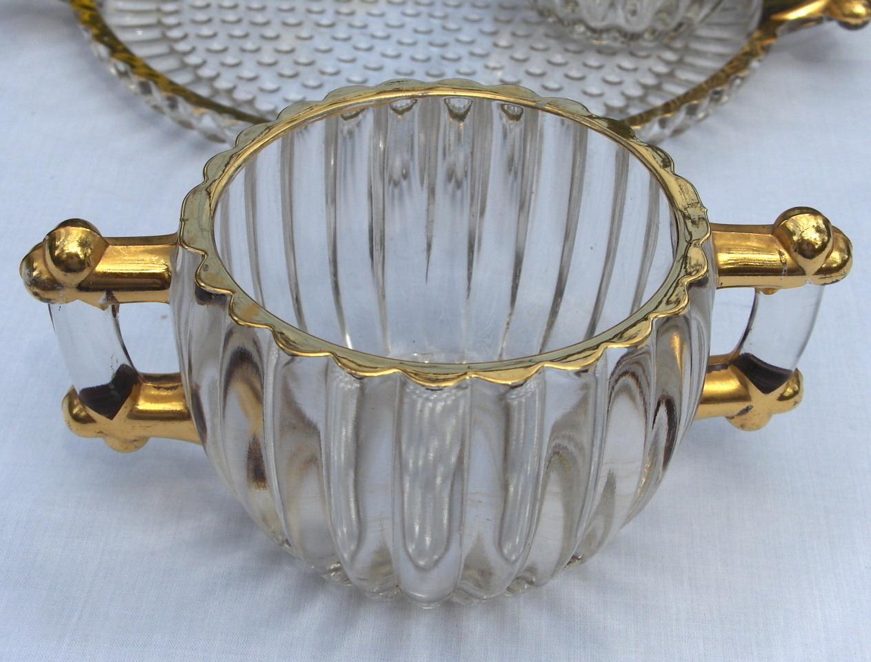 Depression Cream Sugar Tray Gold Leaf by Jeannette