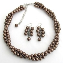 Twisted Necklace Brown Pearls Bridesmaid Jewelry Set Other Colors Avai - $19.23