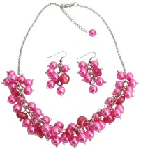 Bridesmaid Affordable Hot Pink Cluster Necklace Set Gorgeous Wedding G - $21.18