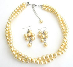 Maid of Honor Jewelry In Yellow Pearls Twisted Necklace With Grape Ear - $19.23