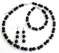 Alluring Jewelry Black Pearls And Silver Spacer Wedding Jewelry Set - $14.68