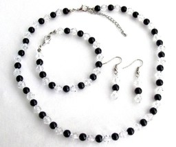 Bridesmaid Gift Black Pearls Clear Crystals Complete Jewelry Set - $14.68