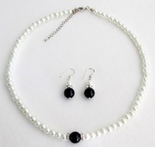 Special Pre Wedding Gift Flower Girl White Black Pearl Jewelry Set - $14.68