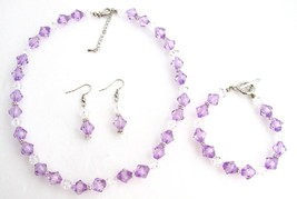 Lilac Clear Crystal Bridesmaid Flower Girl Jewelry Necklace Set - $13.38