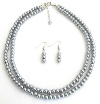 Bridal Pearl Jewelry Set Lite Gray Double Strand Earrings Set - $15.98
