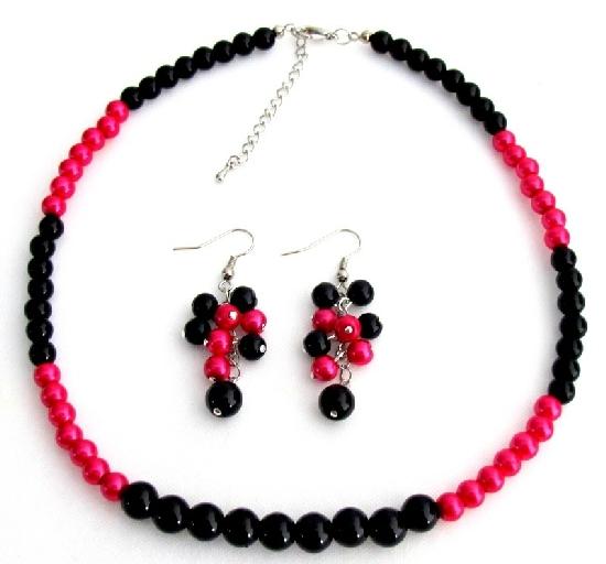 Fascinate Wedding Jewelry In Magenta Black Pearl With Grape Earrings S - $12.08