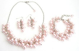 Bridal Set Chunky Pearl Soft Pink Pearls Necklace Earrings Bracelet We - $27.68