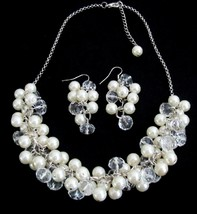 Clusters Of Ivory Pearls And Clear Crystals Elegant Bridal Jewelry - $25.08