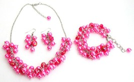 Wedding Pearl Necklace Beaded Chunky Jewelry Hot Pink Pearls Glamorous - $27.68