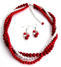 Chunky Twisted Braided Three Strands In Red Coral & White Pearls Neckl - $26.38