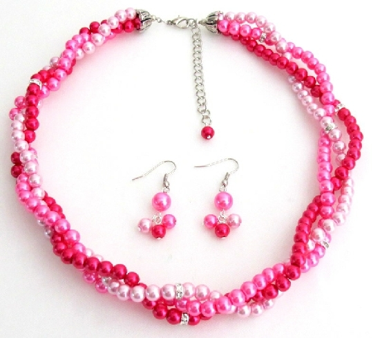 Fuchsia Magenta Hot Pink Twisted Statement Three Strand Necklace Set - $26.38