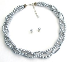Gray Pearls Wedding Jewelry Different Pearl Sizes Twisted Three Stands - $23.78