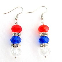 USA Independence Patriotic 4th of July Red White Blue Beads Earrings - $9.48