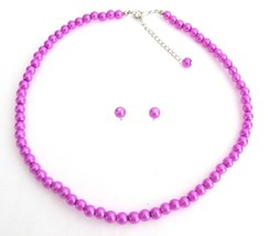 Purple Pearl Necklace with Stud Earrings Jewelry Set - $9.48