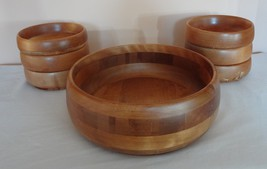 7 Piece Baribocraft Salad Wood Wooden Bowl Set Maple Canada Vintage  - $24.99