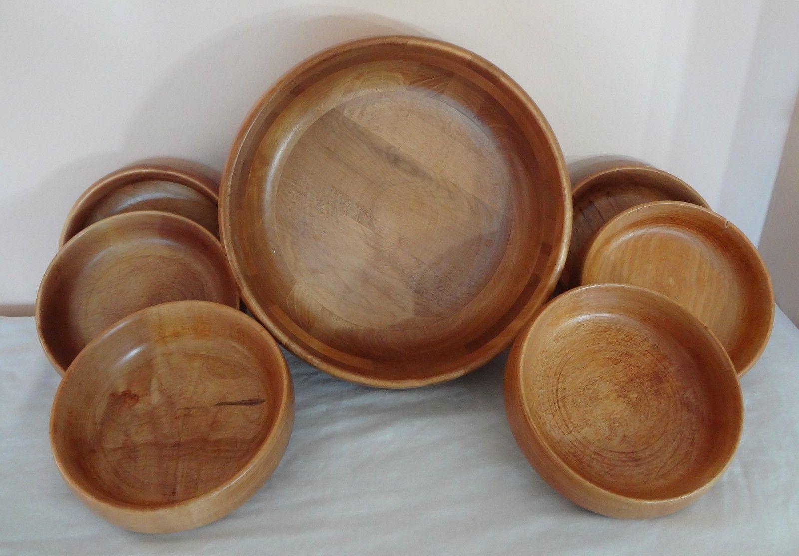 Piece baribocraft salad wood wooden bowl set maple