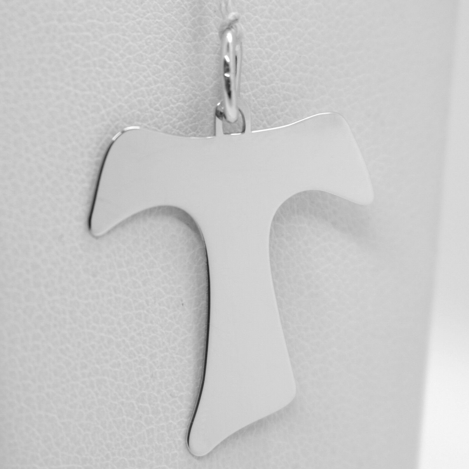18K WHITE GOLD CROSS, FRANCISCAN TAU TAO SAINT FRANCIS 1.3 inches MADE IN ITALY