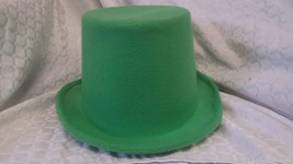 "Green Top Hat Felt Topper Slash Tuxedo Victorian Costume 6"" Tall 24.5"" C... - $12.86"