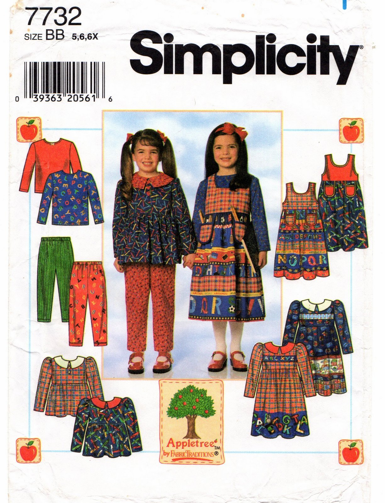 Simplicity 7732 Child's Dress or Tunic, Jumper, Pants and Top Size 5.6.6X Uncut