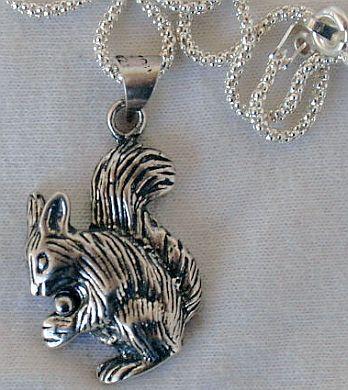 Squirrel silver pendant