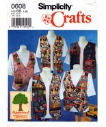 Simplicity Crafts 0608 Misses' Vest Size L,XL Appletree by Fabric Tradit... - $5.50