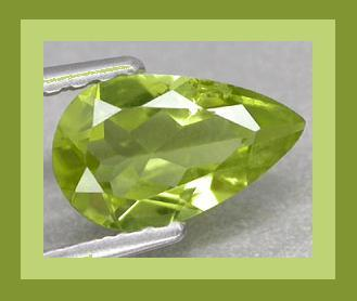 Peridot pear long 7.4x4.6 0.93ct
