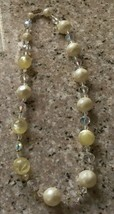 Vintage Retro Gold Tone Cream Beaded Faux Pearls,  A B Crystal Stranded ... - $14.24