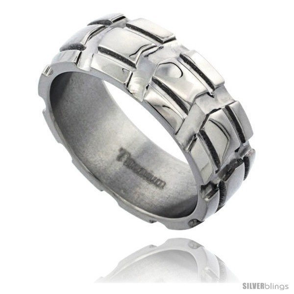 Primary image for Size 11.5 - Titanium 8mm Dome Wedding Band Ring Carved Truck Tire Pattern