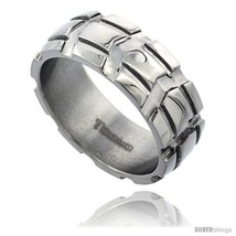 Titanium 8mm dome wedding band ring carved truck tire pattern polished finish comfort fit thumb200