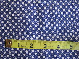 David Textiles Small White Dots with Waby White Lines Royal Blue Cotton Fabric  - $6.95