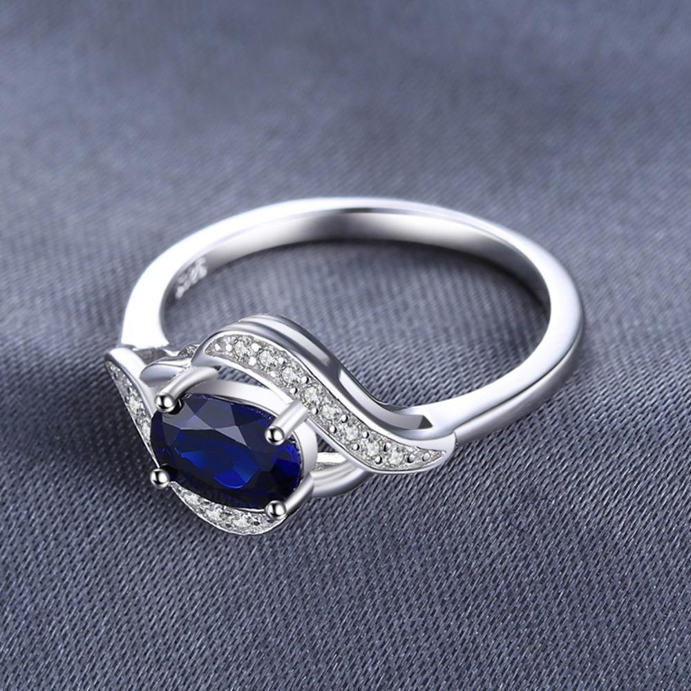 1.1ct Created Blue Sapphire Statement Ring 925 Sterling