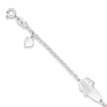 Primary image for Lex & Lu Sterling Silver Polished Teddy Bear Baby Engravable ID Bracelet 6""